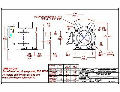 ac motor 1 5hp 1725rpm 1ph 115v 208 230v 56c tefc base ac motor 1 5hp 1725rpm 1ph 115v 208 230v