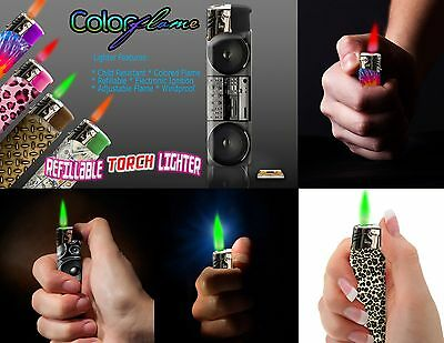 Color Flame Fire Butane Colorflame Colorful Torch Lighter Green Flame Purple Gem 2