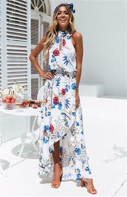 Women Boho Long Maxi Dress Summer Beach Evening Cocktail Party Floral Sundress 7
