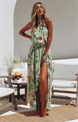 Women Boho Long Maxi Dress Summer Beach Evening Cocktail Party Floral Sundress 6