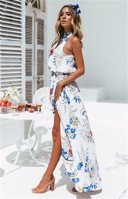 Women Boho Long Maxi Dress Summer Beach Evening Cocktail Party Floral Sundress 8