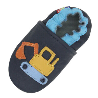 carozoo excavator dark blue soft sole leather slippers up to 8 years old 3