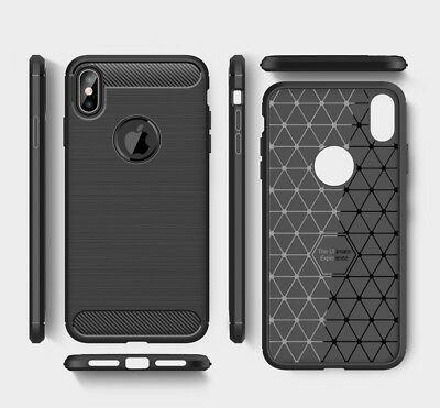 For iPhone XR X XS Max Carbon Fiber Cover Shockproof TPU Heavy Duty Soft Case 2
