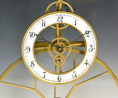 French Style Thin Glass Pinwheel Escapement Big Wheel Marble Base Skeleton Clock 5