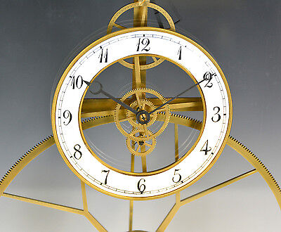 French Style Thin Glass Plated Pinwheel Escapement Great Wheel Skeleton Clock 5