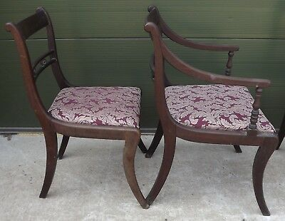 Set of 4 Antique Regency Mahogany Dining Chairs, One Carver, Need Restoration 12