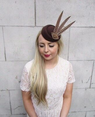 Brown Bronze Pheasant Feather Pillbox Hat Hair Fascinator Races Clip Vtg 3918 2