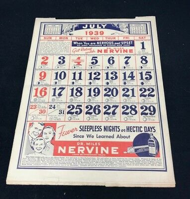 Dr Miles Nervine QUACK MEDICINE Advertising 1939 Drug Store 12 pg Calendar 13x10 7