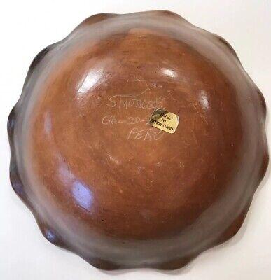 Peru Chulucanas Pottery Bird Bowl Signed S Moncada Precolumbian Technique Vtg 5