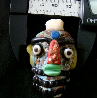 Ancient Phoenician Colorful Face Red Nose Beard Mosaic Glass Bead Pendant 647 10