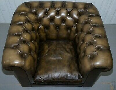 Stunning Pair Of Vintage Chesterfield Leather Club Armchairs Feather Cushions 4