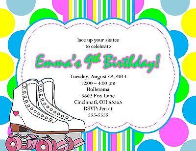 12 Personalised Roller Skating Birthday Party Invitations Invites B57
