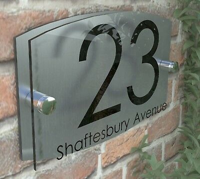 Contemporary House Sign Plaque Door Number 1 - 999 Personalised Name Plate 5