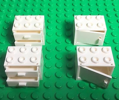 Lego X6 New White Cupboard Container With Drawers City Kitchen Garage Cabinets