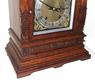 Antique Oak TING TANG Bracket Mantel Clock  Winterhalder & Hoffmeier W & H (a11) 5