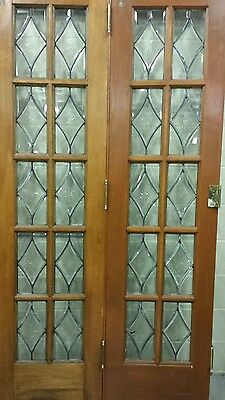 Set Of Antique Bevel Glass Bi- Fold Doors 2