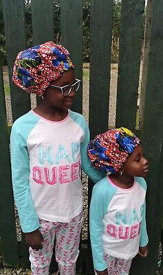 Kids African print Ankara with Sequins Satin Reversible Bonnet Natural Hair Care
