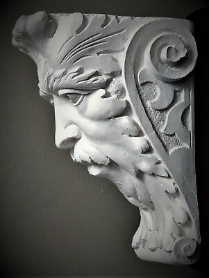 Green Man Wall Corbel Bracket Shelf Architectural Accent Home Decor 2