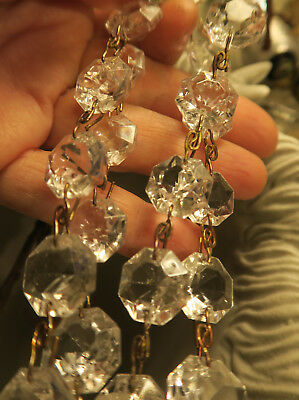 """35"""" vintage ITALY Crystal Glass Prism chain Lamp Chandelier sconce Part brass 4"""