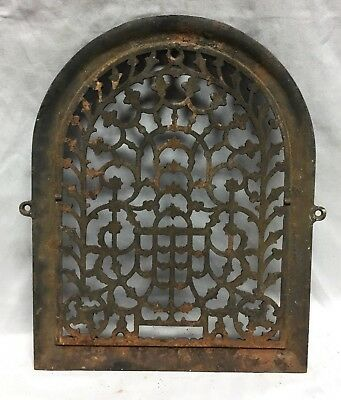 One Antique Arched Top Heat Grate Grill Stars Flowers Pattern Arch 11X14 635-18C 2