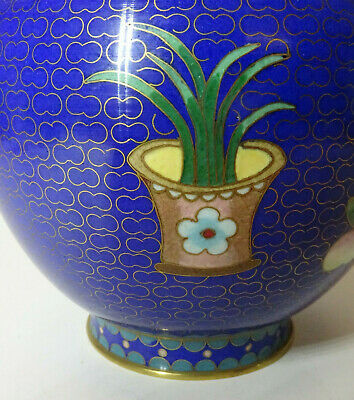 Alte Cloisonne Vase Email Top Blumen Flower alt China Asiatica 8