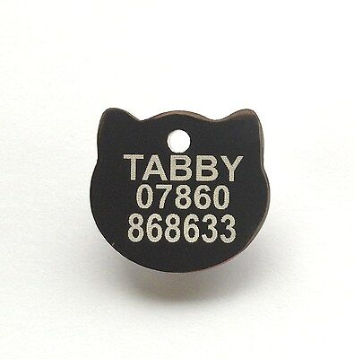 Pet ID Tag Engraved Quality Highly Polished Chrome Solid Cat Shape Face Tags 3