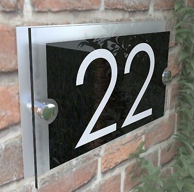 Contemporary House Sign Plaques Door Numbers 1 - 999 Personalised Name Plate 27B 9