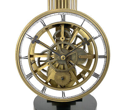 Mystery Pinwheel Upside Down Skeleton Swinging Clock with Marble Base 8