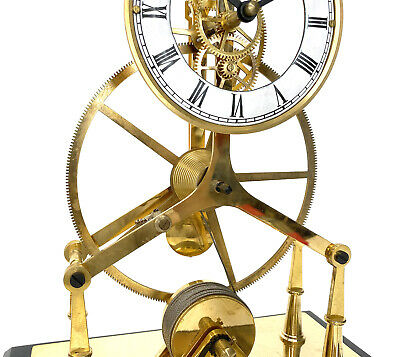 24K Gold Plated 8 Day Great Wheel Fusee Driven Porcelain Dial Skeleton Clock 7