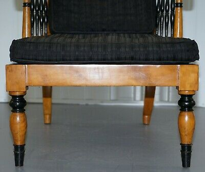 Antique Satin Birch Wood Swedish Biedermeier Library Reading Armchair Ebonished 9