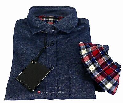 Camicia in flanella uomo manica lunga Slim Fit taschino blu nero tg S M L XL XXL 8