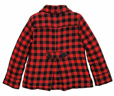 Girls Beautiful Red Check Coat Quilted Lining 5-6 7-8 9-10 Yrs Free Uk P&p 3