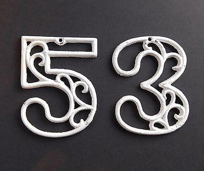 Vintage Mid-Century House Numbers 3 & 5 White Paint Swirl Design Cast Iron