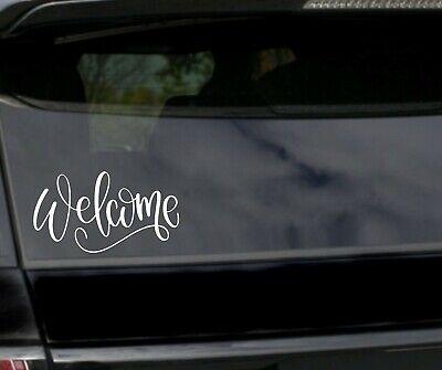 Faux hand painted script welcome door decal