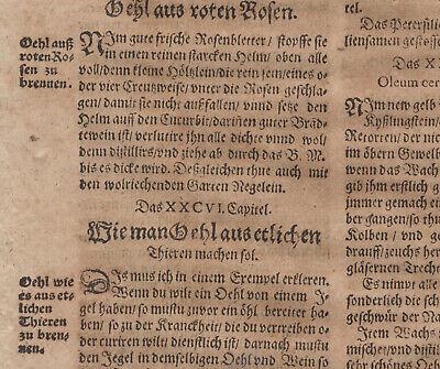 Gummi Mastix ÖL Apotheker Orig Textblatt um 1620  Medizin Arzt Balsam Rosenöl 8