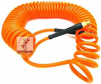 """1//4/"""" x 30 foot POLYURETHANE RE COIL AIR HOSE male SWIVEL Fittings ORANGE recoil"""