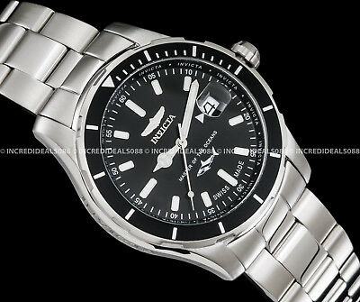 Invicta Mens Pro Diver Swiss Made Black Dial Silver Bracelet SS 44mm Watch 25806 3