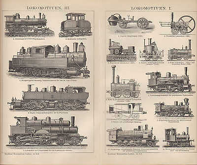 Lithografien 1894: LOKOMOTIVEN. I-III Duplex-Tender-Compound-Lokomotive Güterzug 2