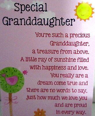 Heartwarmer Keepsake Message Card Special Granddaughter Sweet Birthday Gift 8