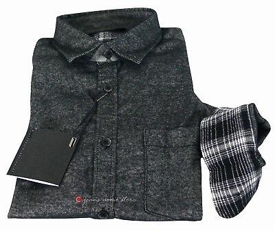 Camicia in flanella uomo manica lunga Slim Fit taschino blu nero tg S M L XL XXL 9