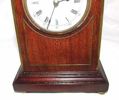 Antique Brass Inlaid Mahogany Miniature Bracket Mantel Clock CLEANED & SERVICED 6