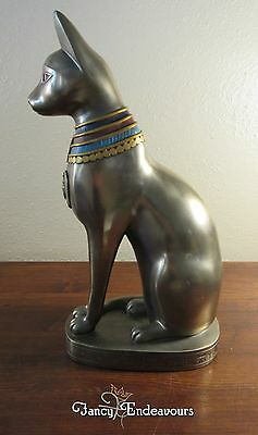 "Egyptian Bastet Cat 12"" Bronze Figurine Scarab Horus Hieroglyphs Veronese"