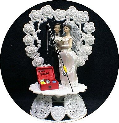 Fishing Theme Wedding Cake Topper Fisherman Pole Tackle Boxes Funny