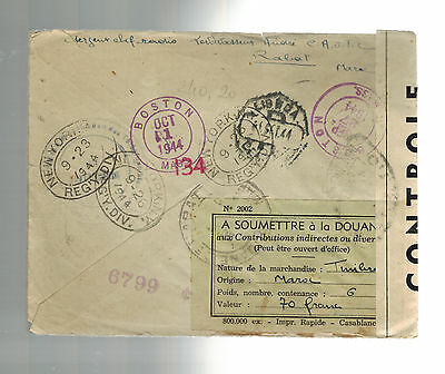 1944 Rabat Morocco  airmail Censored cover to St Pierre Miquelon w customs form