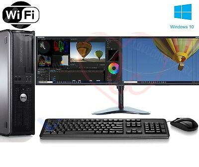 Fast Dell Dual Screen Pc Computer Desktop Tower Windows 10 8Gb Ram 1000Gb Hdd 4