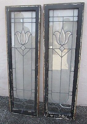 "Great Size Nice Pair Of Antique Beveled & Flat Glass 53"" Side-Lites Estate # 613 6"