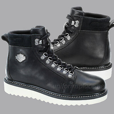c8bbbfdaff3 ... Harley Davidson Boots Mens Larry Lace Up Wedge Boot Black Leather Shoes  D93230 3