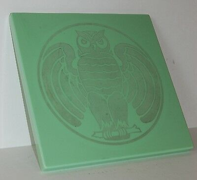 c. 1920's 1930's Vitrolite Building Tile Or Table Top Art Deco Etched Owl Design 4