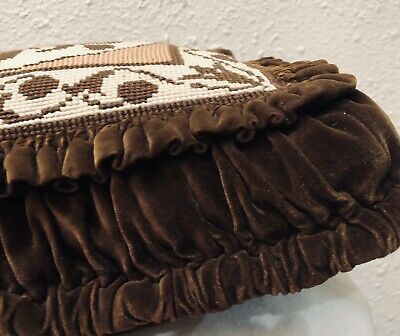 Antique French Velvet Pillow Needlepoint  Victorian Circa Late 1800's 4