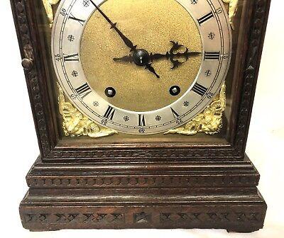 WINTERHALDER HOFFMEIER W & H Antique Oak Bracket Mantel Clock SERVICED 5
